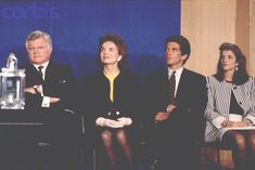 """The Kennedy Family Senator Edward Moore """"Ted"""" Kennedy Sr., Jacqueline Kennedy-Onassis (born Bouvier), her children John Fitzgerald Kennedy Jr. and Caroline Bouvier Kennedy attend the J.F.K. Profile in Courage Prize awards.  Date Photographed:May 28, 1992. http://en.wikipedia.org/wiki/Jacqueline_Kennedy_Onassis  http://en.wikipedia.org/wiki/John_F._Kennedy,_Jr.    http://en.wikipedia.org/wiki/Caroline_Kennedy   ❤❤❤"""