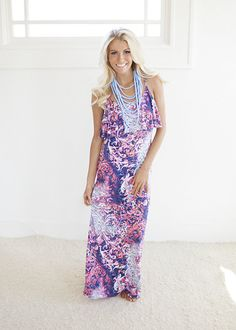Online boutique. Best outfits. Multi Colored Printed Maxi Dress - Modern Vintage Boutique