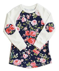 Take a look at this White Floral Elbow Patch Raglan Tee - Infant, Toddler & Girls today!