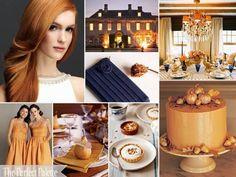 Gorgeous color palette! Navy, Latte, Orange, Antique Gold, and White.