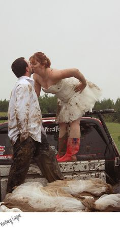 Real Maine wedding photography TRASH THE DRESS! A bride, her groom, their Ford and a 4wheeler. Trash your dress like the best- with mud! #countrythang #countrycouple #engagementphoto #country