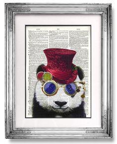 Buy2Get2 Free - Steampunk Panda, Geekery,Steam Punk, Decor, DICTIONARY ART Print,Dictionary Print, Dictionary Paper, Print, Poster,Nerd,Geek