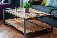 Low Tables, Industrial Table, Recycled Wood, Pallet Furniture, Living Room Designs, A Table, Interior Design, Wood Work, Home Decor