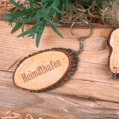 Schlüsselanhänger mit Holzscheibe und Ihrem Wunschtext