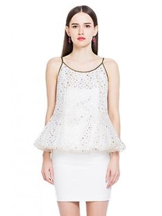 Star Pattern Snow Yarn Strap Blouse  $55.99