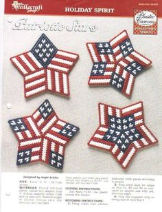 Plastic Canvas - Stitch up this set of patriotic designs to show off your American pride any time of the year! Use them as magnets, pins, gift tags and so much more. This e-pattern was originally published as part of the Plastic Canvas Collector's Series. Plastic Canvas Stitches, Plastic Canvas Coasters, Plastic Canvas Ornaments, Plastic Canvas Christmas, Plastic Canvas Crafts, Plastic Canvas Patterns, Plastic Craft, Plastic Mesh, Tissue Box Covers