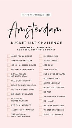 Top things to do in Amsterdam - Amsterdam Bucketli. - Top things to do in Amsterdam - Amsterdam Bucketli. Travel Checklist, Travel List, Travel Europe, Travel Goals, Holiday Checklist, Travel Destinations, Euro Travel, Greece Destinations, Shopping Travel
