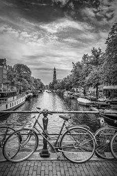 Photograph - Typical Amsterdam - Monochrome by Melanie Viola , Black And White Photo Wall, Black And White Theme, Black N White, Black And White Pictures, Black And White Photography, Gray Aesthetic, Black And White Aesthetic, Aesthetic Themes, Amsterdam Photography