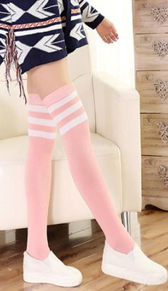 8be178a16 Pink and white thigh high college girl band socks