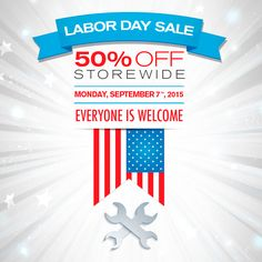 Labor Day Sale! Save 50% off STOREWIDE on Monday, September 7th! Don't miss this sale!