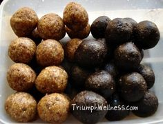 raw brownie balls, raw peanut butter oatmeal balls. healthy cookies, no sugar cookies