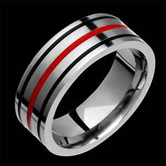 New Style Flat Mens Titanium Ring Wedding Band With Black Red Inlay Comfort Fit