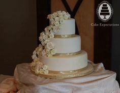 White And Gold Wedding Cake White