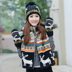 Christmas reindeer knit hat scarf and gloves set for women