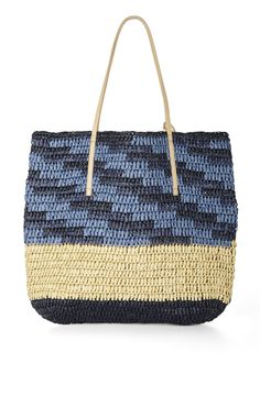 North-South Space-Dyed Straw Tote | BCBG