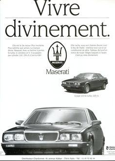 Publicité - Maserati - Automobiles Classiques 1988
