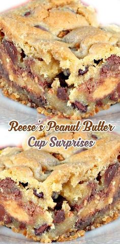 Reese's Peanut Butter Cup Surprises ( try using cup 4 cup and sugar free Reese's also maybe palm sugar instead of brown sugar omit white sugar see what happens ? Köstliche Desserts, Delicious Desserts, 15 Minute Desserts, Great Desserts, Plated Desserts, Peanut Butter Recipes, Peanut Butter Cookie Bars, Peanut Butter Chocolate Cake, Biscuits