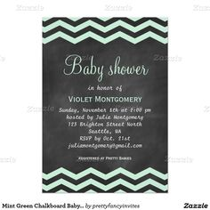 "Mint Green Chalkboard Baby Shower Invite 5"" X 7"" Invitation Card"