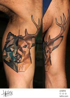 geometric wolf and deer tattoo Deer Tattoo, Wolf Tattoos, Nature Tattoos, Arm Tattoo, Tribal Tattoos, Tatoos, Tattoo Ink, Wolf Tattoo Design, Tattoo Designs