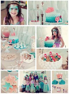 "Little Mermaid Birthday.  Love the fork/spoon idea and real tiara idea for the birthday princess. Too bad i've already bough the ""ariel"" one... grrr"