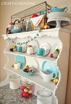 Colorful amp Bright Christmas Decorated Hutch Christmas Decor More