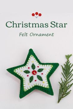 This hand stitched felt star has embroidered leaves and berries in green white and red, and is finished with a red button.The star has a loop for hanging and is 4 inches / 10cm high.The price includes worldwide shipping. #feltchristmasornament #starornament Scandi Christmas, Christmas Star, Green Christmas, Embroidered Leaves, Felted Wool Crafts, Felt Decorations, Felt Christmas Ornaments, Red Button, Star Ornament