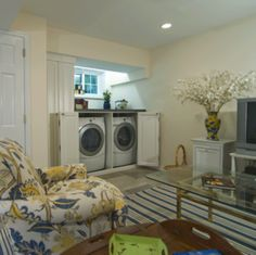 Small Laundry Closet Design Ideas, Pictures, Remodel, and Decor - page 2 Small Laundry Closet, Hidden Laundry, Basement Laundry, Laundry In Bathroom, Laundry Area, Laundry Rooms, Concealed Laundry, Utility Closet, Basement Apartment