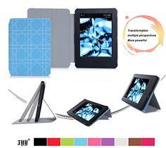 "Kindle, 6"" case, FYY® Ultra Slim Magnetic Smart Cover Folio Case for Kindle, 6"" Glare-Free Touchscreen Display 2014 Cyan Pattern FYY http://www.amazon.com/dp/B00VM605R4/ref=cm_sw_r_pi_dp_OaPrwb1HM4ZT5"