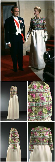 White silk sheath dress and intricately embroidered bolero jacket, by Balenciaga, 1959. Worn by Princess Grace of Monaco during an official visit to Paris in October 1959. Collection of Cristóbal Balenciaga Museoa.