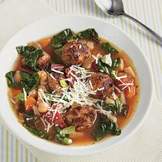Family Dinner Recipes | Mini Meatball Minestrone | CookingLight.com