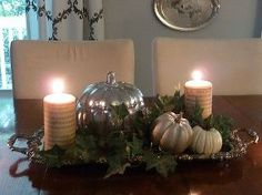diy mirrored pumpkin, home decor, painting, seasonal holiday decor, Neutral fall tablescape with mirrored pumpkin