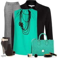 turquoise work outfit style fashion find more women fashion ideas on www.misspool.com  Sponsored By: Grandma's Crochet Shop