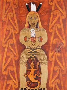 "Hine-nui-i-te-po (Ancestress of the Night) by June Northcroft Grant: Hine-nui-te-pō (""Great woman of night"") is a goddess of night and death and the ruler of the underworld in Māori mythology. She is a daughter of Tāne. Goddess Of The Underworld, Polynesian People, Art Grants, Maori Designs, New Zealand Art, Nz Art, Maori Art, Gods And Goddesses, Archetypes"