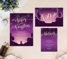 Starry night wedding invitations printed on shimmer card stock. It is a perfect choice for your evening wedding reception.   Purple starry night wedding invitation + RSVP postcard: www.etsy.com/listing/244272947  Return address printing on envelopes as low as 0.3$ per envelope: www.etsy.com/listing/241152140  WHAT YOU GET when purchasing printed wedding invitation set: - - - - - - - - - - - - - - - - - - - - - - - - - - - - - - - - - - - - - - - - - - - - - - - - - - - - -...