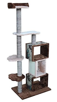 Modern Cat Tower Furniture Kitty Tree, Brown/Beige   - Cat Tree