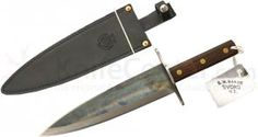 Svord NKT Ned Kelly Toothpick 11-1/2 inch Double Edge Carbon Steel Blade, Wood Handles, Leather Sheath