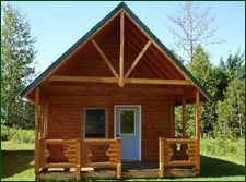 Panel Concepts Affordable Modular Log Cabin Kits - Knotty Pine Model 4 with an 8x16 loft, window and ladder. Perfect for camping, hunting, camps, living and retirement!