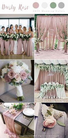 romantic dusty rose, ivory and grey wedding color ideas for 2019 . romantic dusty rose, ivory and grey wedding color ideas for 2019 Gray Wedding Colors, Dusty Rose Wedding, Wedding Color Schemes, Grey Wedding Theme, Blush And Grey Wedding, Beach Wedding Colour Scheme, Purple Wedding, Wedding Colour Palettes, Color Palettes