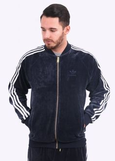 Adidas Originals Apparel Velour Track Top - Legend Ink
