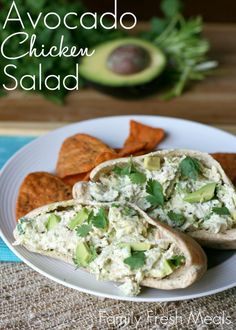 Healthy Avocado Chicken Salad. I'd leave the mayo out, but then I'm not a mayo fan. Otherwise it sounds SOOOO yummy.