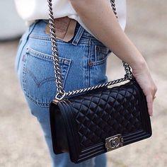 Chanel Boy Bag with Light Gold Metal Hardware