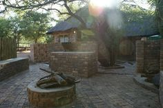 Boma Braai area at the game farm chalets Game Lodge, Wedding Function, Bed And Breakfast, Wedding Venues, Marble, Outdoors, Garden, Outdoor Decor, Home Decor