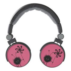 Customizable funny #evil #headphones with the Evil Flower Bug - grinning cartoon #character with sharp teeth holding a flower on #pink background. It's evil and kind of cute. It loves flowers... loves eating them, in fact. This evil character will make a great gift for someone who loves gothic designs and quirky illustrations. Or just funny creatures. The pink color of this evil bug design is customizable.