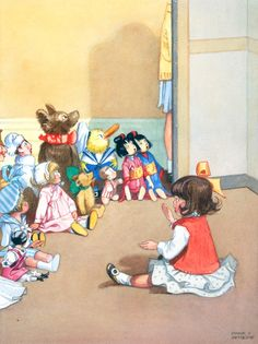 DOROTHY TELLS THE CHILDREN A STORY by HONOR APPLETON..ILLUSTRATED:	MRS H C CRADOCK, JOSEPHINE KEEPS HOUSE, LONDON: BLACKIE AND SON, 1931, FACING PAGE 20 EXHIBITED: 'HONOR C APPLETON (1879-1951)', 9-27 MAY 1990, NO 115
