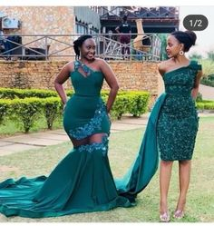 Two Styles Dark Green African Plus Size Mermaid Prom Dresses Lace Appliques One Shoulder Floor Length Formal Dress Evening Gowns Short African Dresses, Latest African Fashion Dresses, African Print Dresses, African Bridesmaid Dresses, African Wedding Attire, African Attire, South African Traditional Dresses, Mermaid Prom Dresses Lace, Lace Dress Styles