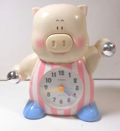 1980 Vintage CITIZEN Whimsical PIG Quartz TALKING ALARM CLOCK (NOT WORKING)Japan | eBay Talking Alarm Clock, Piggy Bank, Whimsical, Quartz, Japan, Citizen, Clocks, Ebay, Spaces