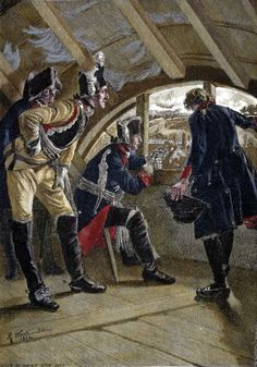 King Frederick II of Prussia watches the advancing enemy at the battle of Rosbach.