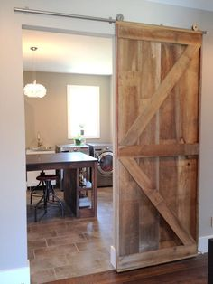 Sliding door room divider?  Barn Door Room Divider Made to Order from by WhatmanBarnFurniture, $300.00