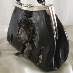#Steampunk #Leather Purse, #Couture Vintage evening bag, Black n Blue.