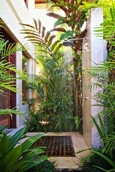 Outdoor Bathrooms 784189353852717162 - 18 Beautiful Outdoor Shower Ideas – Stunning Outdoor Shower Designs Source by officialarturdavis Tropical Bathroom, Tropical Home Decor, Bathroom Plants, Tropical Houses, Tropical Garden, Tropical Furniture, Tropical Interior, Tropical Colors, Garden Bathroom